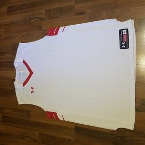 Under Armour Men's White & Red Basketball Tank Top Size XL